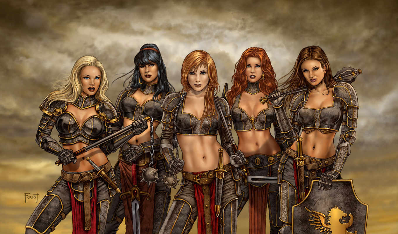 фэнтези, девушки, арт, оружие, меч, цеп, булава, кинжал, щит, булава, моргенштерн