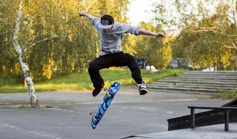 парень, прыжок, парк, полет, аллея, зелень, ступеньки, картинка, спорт,