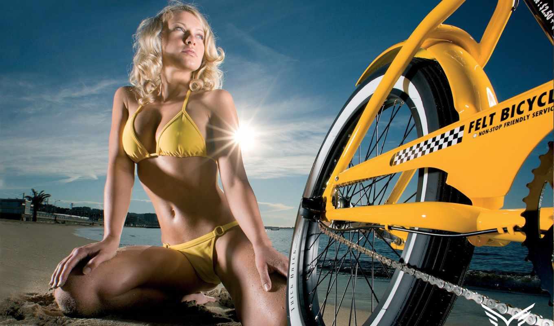 велосипед, девушка, небо, песок, пляж, sun, blonde, красивые, колесо,