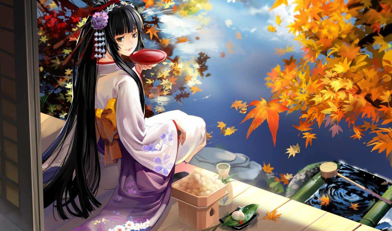 осень, япония, гейша, озеро, девушка,