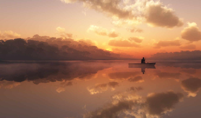 рыбалка, лодка, рыбак, рассвете, рассвет, озеро, море, природа, закат, небо, mist,