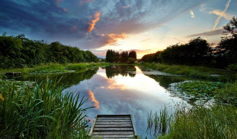,лес,озеро,пирс,камыш,отражение,закат,