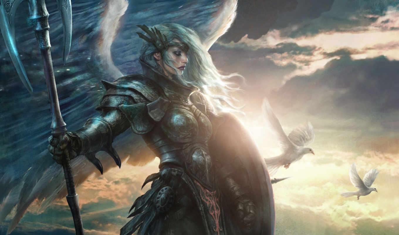 angel, art, девушка, крылья, оружие, красивые,