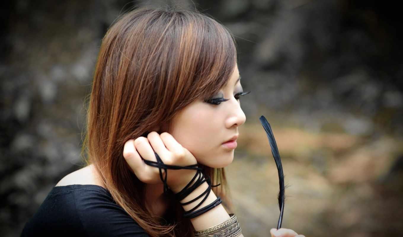 красивые, девушка, азиатская, японские, красивая, самые, чёрно, японки, белое,