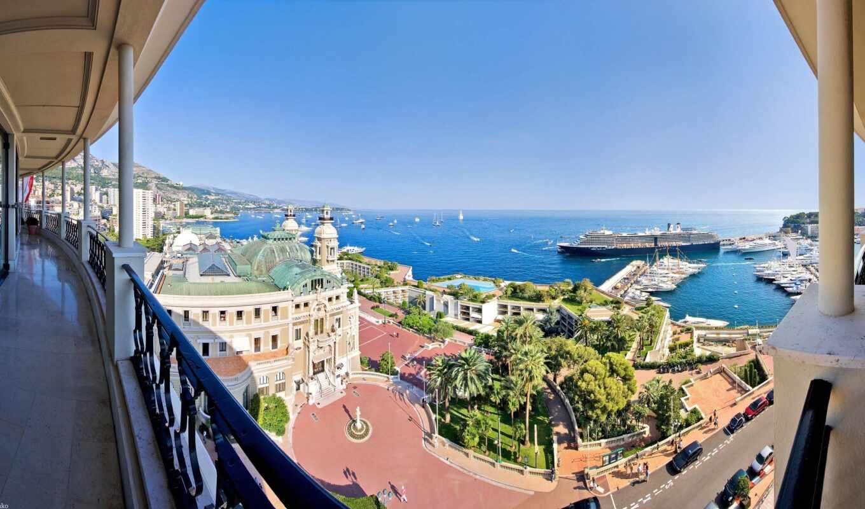 город, monaco, балкон, ocean, монте, carlo, улица, house, кот