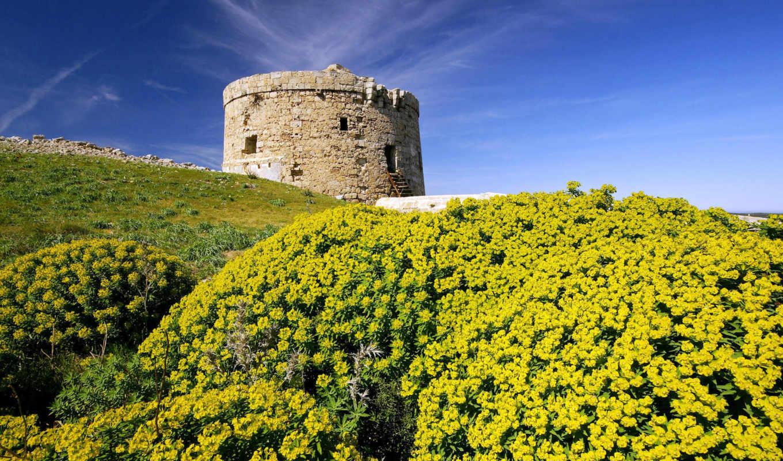 torre, islands, penjat, den, fortress, природа, spain, menorca, desktop, старая, островах, балеарских,