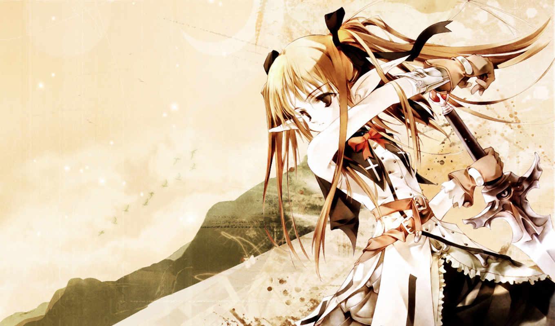 аниме, sumi, keiichi, фэнтези, меч, девушка, schwert, картинку, fantasie,