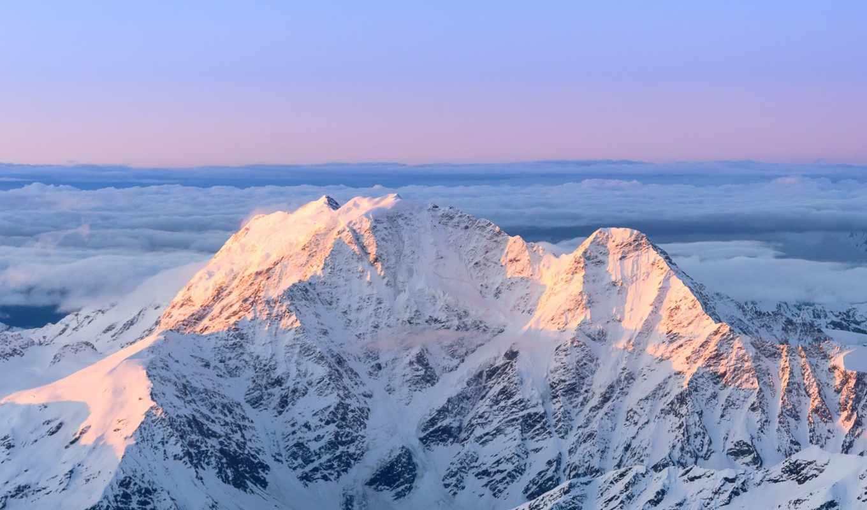 горы, glacier, кавказ, небо, облака, восход,