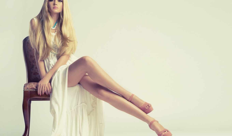 девушка, платье, blonde, волосы,