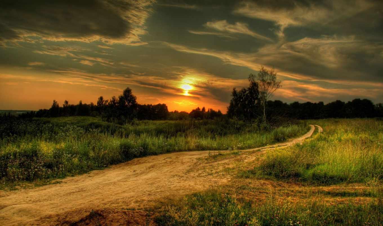 закат, поле, дорога,