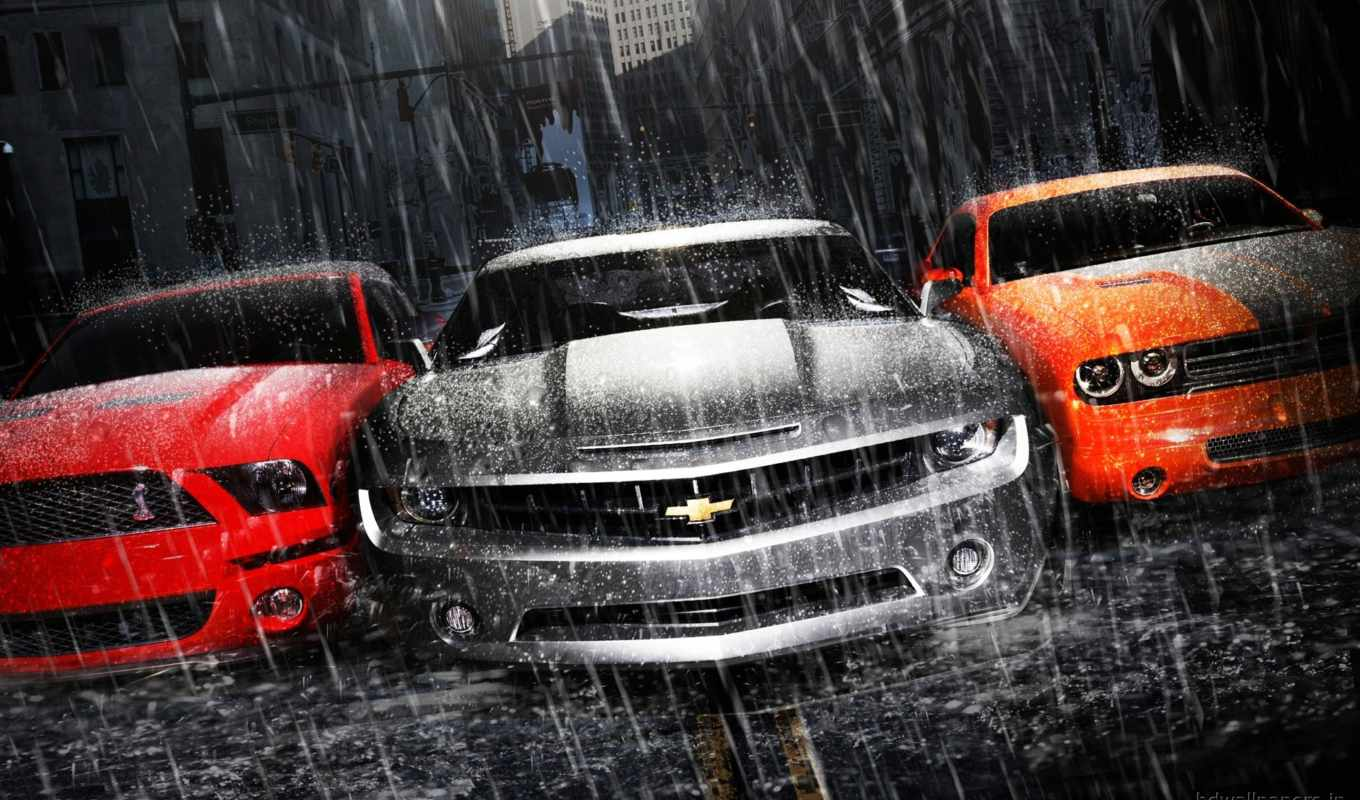 chevrolet, camaro, dodge, challenger, ford, mustang, muscle, дождь, асфальт, cars,