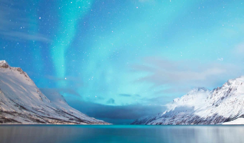 сияние, северное, горы, природа, озера, горного, снегом, близко, покрытые, снег,
