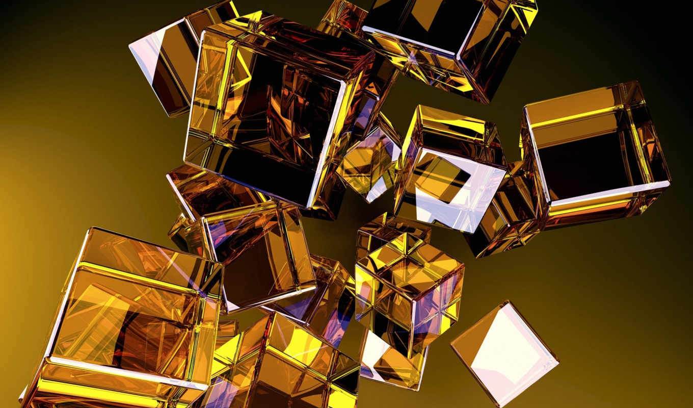 кубики, cubes, glass, разное, желтые, download, вид, desktop, абстракция, стеклянные,