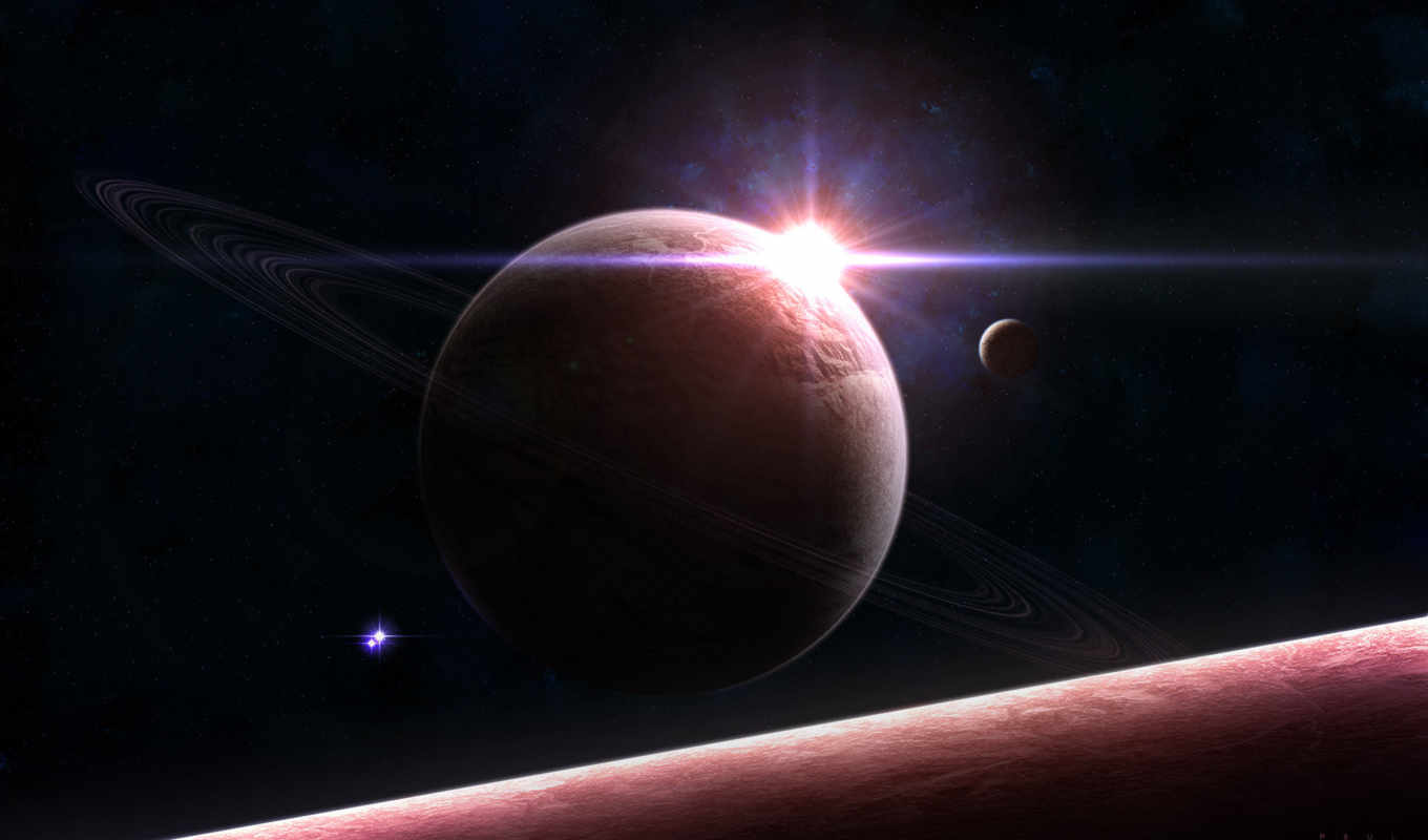 sunrise, planets, space, outer,