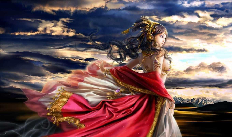 фэнтези, платье, девушка, ветер, горы, облака, рассвет, развевающееся, сумерки, предрассветные,
