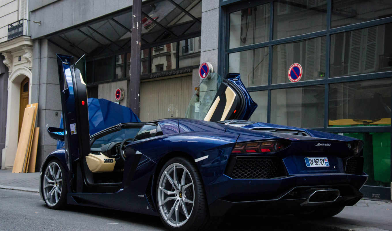 lamborghini, aventador, roadster, black,