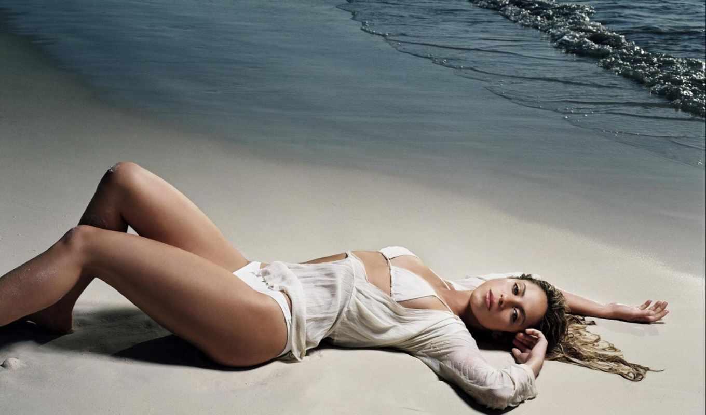 пляж, море, песок, девушка,
