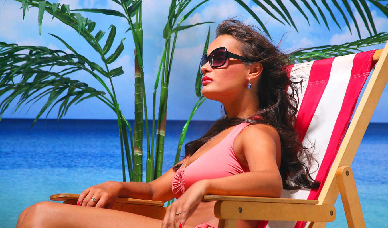 море, пляж, brunette, девушка,