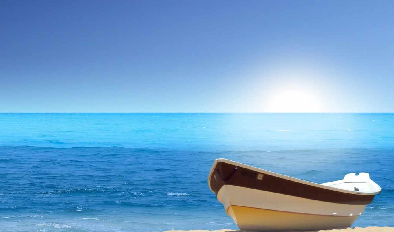 лодка, пляж, ocean, море, берегу, water, песок, природа,