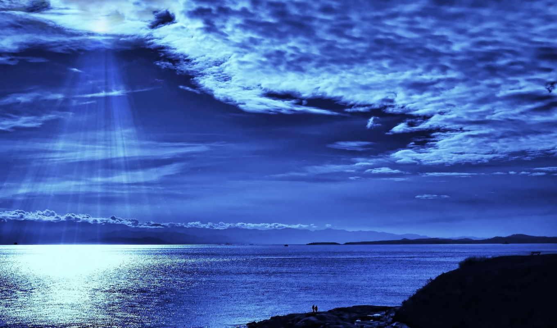 море, берег, облака, луна, скалы, природа, пейзаж, вода, небо, река, картинка,