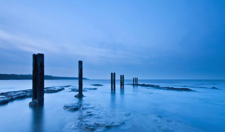 море, северное, великобритания, берег, англия, столбы, картинка, деревянные, вечер,