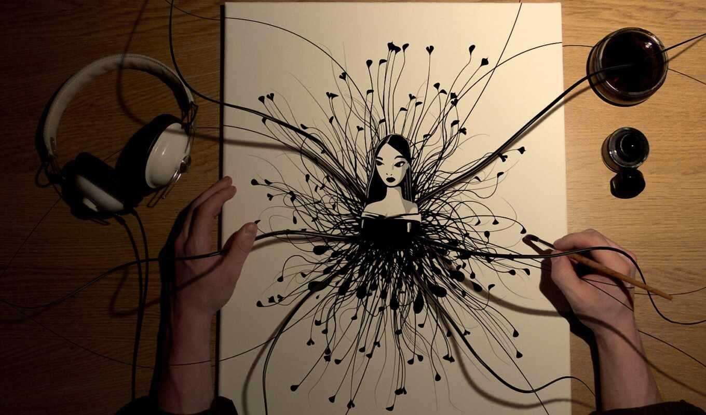 рисунки, абстракция, графика, рисунок, девушка,