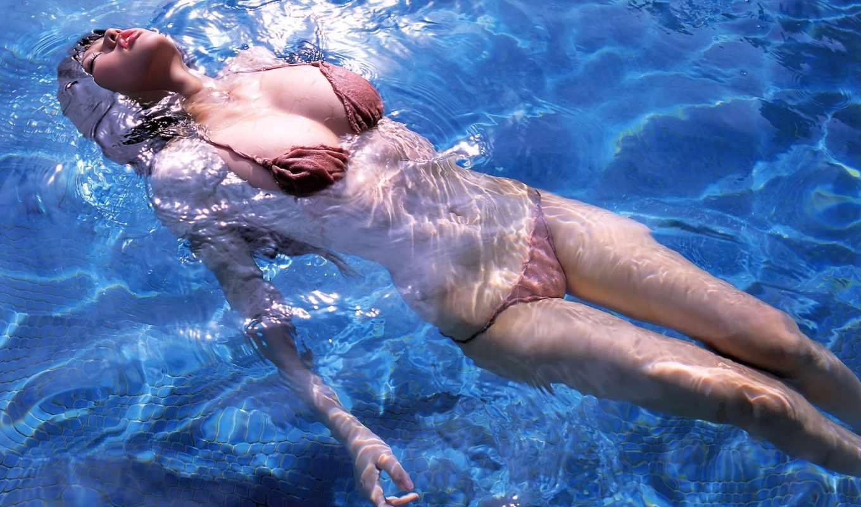 девушка, girls, купальник, рутину, плавает, яркие,