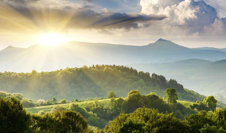 небо, природа, landscape, холмы, деревя, зелёный, горы,