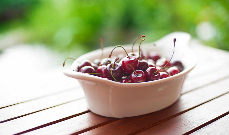 вишни, макро, тарелка, pack, картинка,