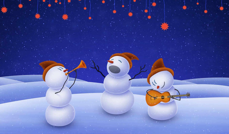 год, новый, музыка, снеговики, группа, christmas, sống, картинку, xmas,