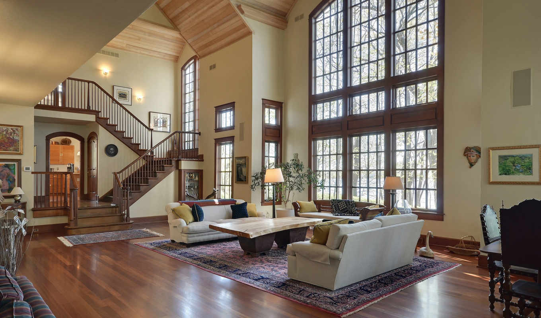 schody, salon, dom, wnętrze, tapety,
