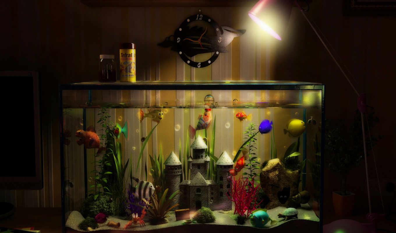 аквариум, рыбки, замок, аквариума, лампа, часы,