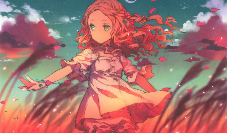 anime, девушка, глазами, волосами, других, ваших, зелёными,