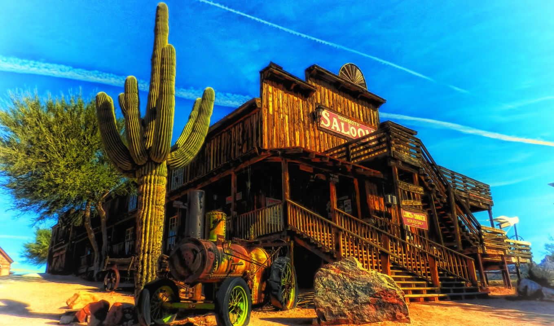 saloon, arizona, кактус, пейзаж, desktop, нравится,