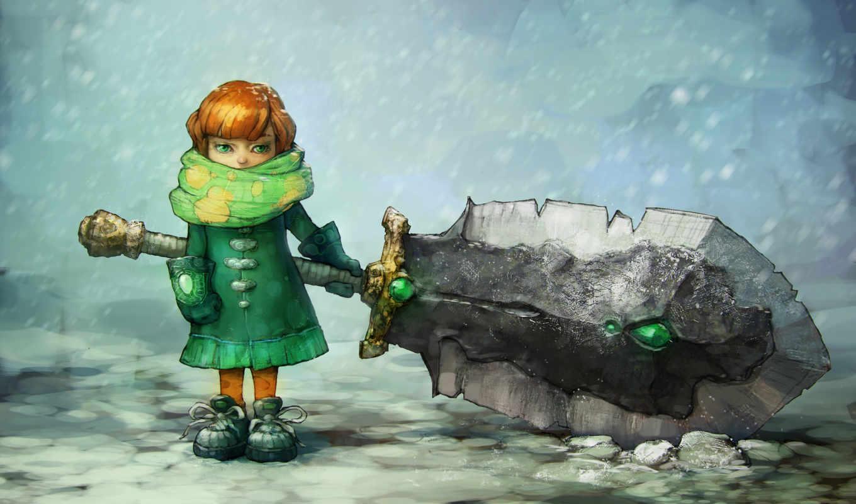 anime, снег, девушка, winter, оружие, шарф,