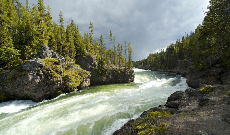 река, горная, лес, камни, природа, горы, скалы,
