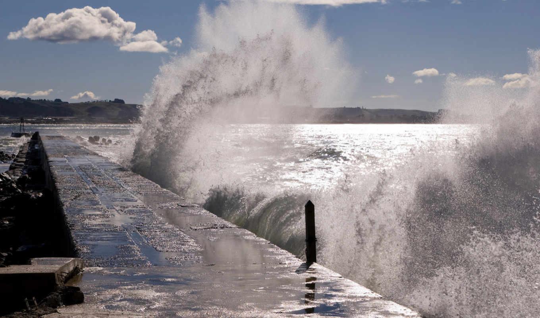 море, причал, волны, буря, небо, pier, брызги, surf, волна, горизонт, oblaka,