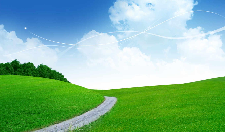 дорога, небо, поле, photoshop, склон, звездное, summer, банка, солнечные, landscape,