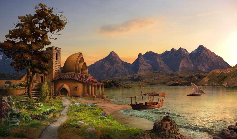 горы, дом, корабли, арт, озеро, парусник, antonov, max,