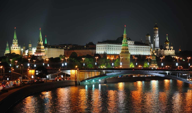 город, ночь, огни, москва, картинка,