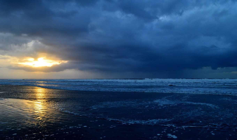 солнце, облака, пейзаж, небо, море, берег, горизонт, вода,