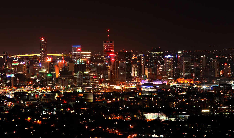 ночь, город, огни,