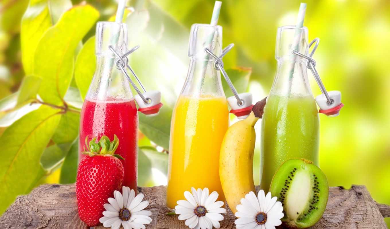 фрукты, картинка, море, напитки, clouds, клубника, киви, ягоды, cocktails, небо, банан,