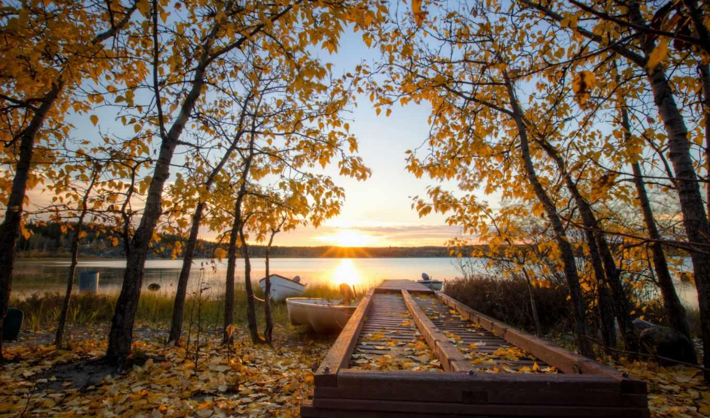 осень, sun, trees, картинка, листва, озеро, желтые, канада,