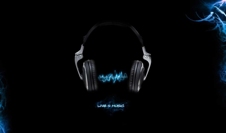 наушники, музыка, волна, чёрный синий