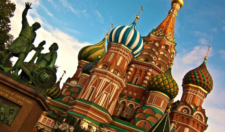 москва, россия, картинка, василия, храм, блаженного, города,