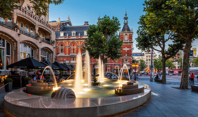 amsterdam, нидерланды, дома, город,