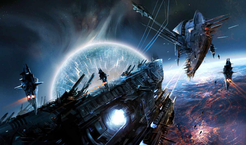 cosmos, fantasy, космические, корабль, бой,