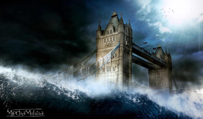 мост, london, башня, города, англия, waves,