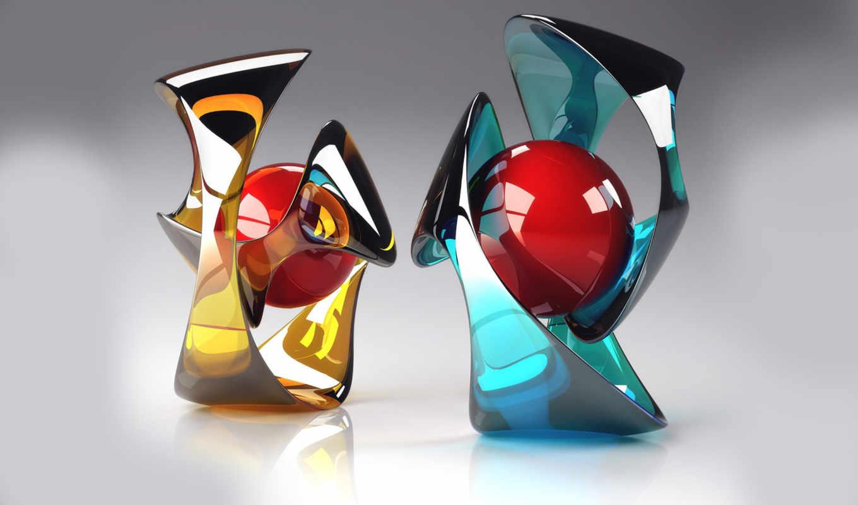 sphere, trophies, crystal, art, glass, трехмерной, графикой, фона,